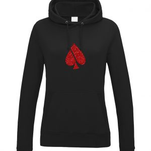 FASH-ACE FASH-ACE GLITTER_HOODIES_WOMAN_BLACK_RED