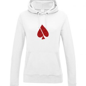 FASH-ACE FASH-ACE GLITTER_HOODIES_WOMAN_WHITE_RED
