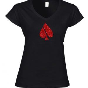FASH-ACE GLITTER_T-SHIRT_V-NECK_WOMEN_BLACK_RED